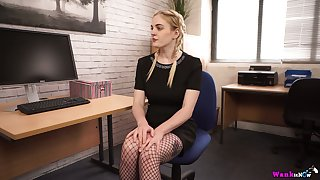 Juggy assistant with pierced nose and nipples Carly Rae masturbates close by be transferred to office