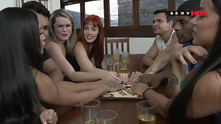 Excited sex friends talk to spirits together with throw orgy