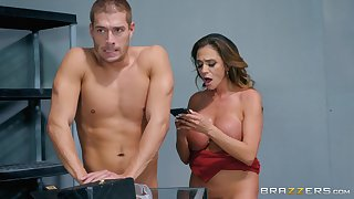 after the tit job Ariella Ferrera can't cool one's heels to feel friend's hard shaft