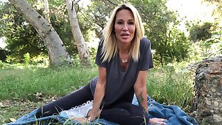 Having fun outdoors overhead her own up to blue blonde Jessica Drake and her solo