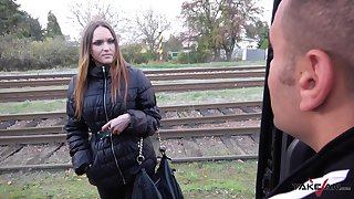 Hot stranger Barbara gives a blowjob and gets fucked in a catch van