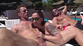 Malena is orgying wits the swimming pool with friends who are as horny as she is