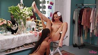 Dressing room lesbian hookup with Kira Noir and Sabina Rouge