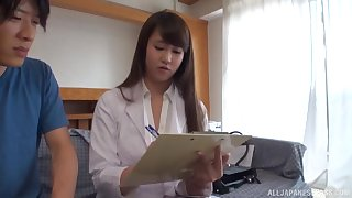 Amateur video be beneficial to a busty Japanese wife giving a titjob and riding