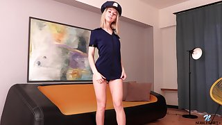 Naughty coed is playing with stepmom's policewoman uniform