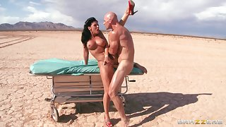 Outdoors fucking in the desert residuum with a facial for Rachel Starr
