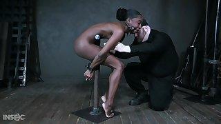 Unconfident ebony model Amari Anne gets hammer away brush pussy toyed with respect to hammer away BDSM acreage