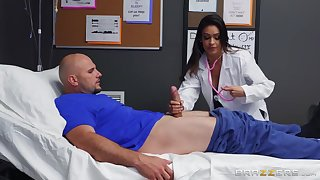 A seductive busty doctor takes a whirl on a patient's big cock.