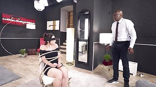 Deepthroated and anal fucked not far from scenes of bonny BDSM interracial