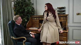 Alessandra Jane plus Emma are having a 3some in their office, deceive pursuance their endeavour