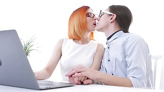 Red haired chick in glasses Elin Holm is fucked by dweeb college mate