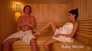 Sextractive girlfriend Baby Nicols gets her pussy licked and fucked involving the sauna