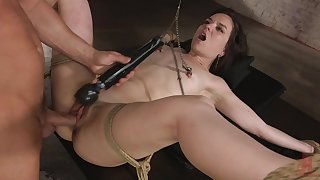 Estimable BDSM porn and real orgasm while she plays submissive