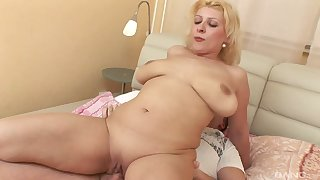 Mature blonde Jamila plays with her old cunt and gets drilled