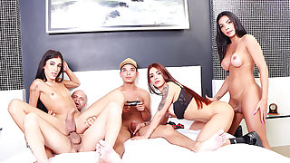 Pic Game Party Turns Come by a Sizzling Orgy with Three Big Dicked Shemales