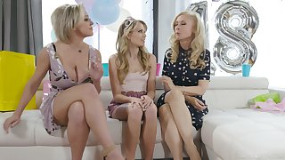 An 18th birthday turns into a nice threesome with two curvaceous MILFs