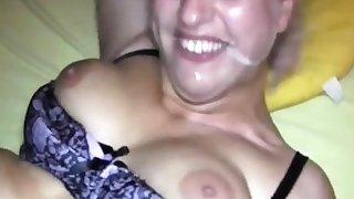 Busty blonde slut facial cumshot