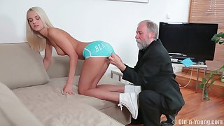 Blonde incise Joleyn_Burst fucked on the top of the sofa wits an patriarch toff