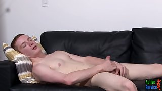 Straight ginger New Zealand larrikin tugs his amateur dick