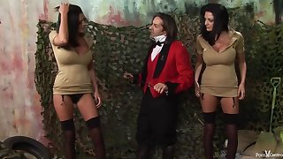 Three hot step sisters are kneeling and drooling on a horny guy's large meat stick