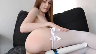 hot babe masturbating with vibrator on her wet pussy