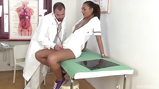 Naughty pains wants to be fucked by the doctor and teases him